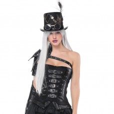 Black Beauty Steampunk Faux Leather Corset