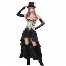 Gothic Silver Steampunk Corset & Hi Lo Skirt Set