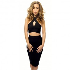 Leyla Black Two Piece Crop Cutout Bandage Set